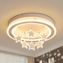 Modern Ring Flush Mount Light with Hanging Star Acrylic White LED Ceiling Fixture with Warm/White Lighting for Bedroom
