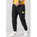 Chic Fashion Letter Patch Flap Pocket Drawstring Waist Men's Black Cotton Casual Cargo Pants