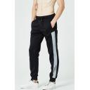 Men's New Fashion Contrast Tape Patch Drawstring Waist Cotton Black Sweatpants