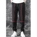 Men's New Fashion Contrast Cinch Strap Drawstring Waist Cotton Black Sweatpants