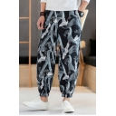 Chinese Style Crane All-over Printed Loose Fit Elastic Cuffs Men's Casual Tapered Pants