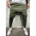 Men's New Fashion Solid Color Patched Zipper Embellishment Casual Cotton Pencil Pants