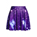 New Stylish Purple Galaxy Printed High Rise Mini A-Line Pleated Skater Skirt