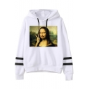 Funny Figure Mona Lisa Striped Long Sleeve Loose Fitted White Hoodie