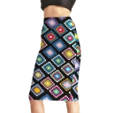 Ethnic Style Tribal Floral Geometric Print Midi Bodycon Pencil Skirt in Black