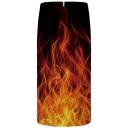 Cool 3D Fire Printed Zipper Back Black Midi Pencil Skirt