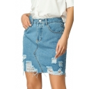 Summer Womens Trendy Destroyed Ripped Light Blue Mini Denim Skirt