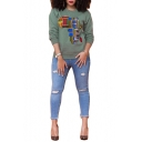 Womens Fashion Abstract Printed Crewneck Long Sleeve Pullover Sweatshirt
