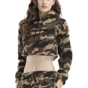 Classic Camo Print Womens Long Sleeve Fashion Cropped Hoodie