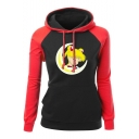 Sailor Moon Comic Girl Printed Color Block Long Sleeve Fitted Drawstring Hoodie