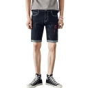 Men's Summer Fashion Ripped Detail Rolled Cuffs Zip-fly Denim Shorts