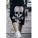 Men's Cool Fashion Skull Printed Cotton Drop-Crotch Shorts for Men