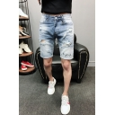 Summer Fashion Light Washed Letter HAHA Embroidery Destroyed Ripped Detail Men's Light Blue Denim Shorts