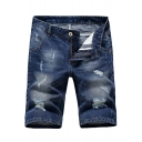 Summer Fashion Ripped Derail Medium Washed Simple Plain Blue Zip-fly Denim Shorts