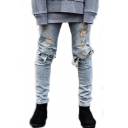 Men's Cool Fashion Simple Plain Knee Cut Light Blue Ripped Biker Jeans