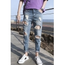 Men's Simple Plain Fashion Knee Cut Light Blue Ripped Jeans with Holes