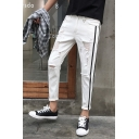 Men's New Stylish Contrast Stripe Side Knee Cut Rolled Cuffs Ripped Jeans