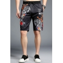Men's Summer Hot Fashion Cool Printed Drawstring Waist Black Casual Active Shorts
