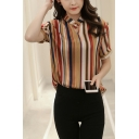 Summer Womens Stylish Yellow Striped Printed V-Neck Short Sleeve Silk Blouse Top