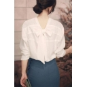 Womens Unique Trendy Bow-Tied Back Long Sleeve White Reversible Chiffon Blouse