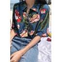 Summer Hot Popular Vintage Floral Printed Holiday Button Down Hawaiian Shirt