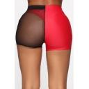 Fashion Two-Tone Sexy Transparent Mesh Panel Skinny Fit Beach Shorts Swimwear