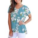 Summer Fancy Floral Printed V-Neck Short Sleeve Casual T-Shirt