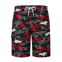 Men's New Stylish Cartoon Shark Print Casual Drawstring Beach Shorts Swim Trunks
