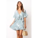 Summer Fancy Light Blue Floral Printed V-Neck Flutter Sleeve Mini A-Line Ruffle Dress