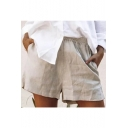 Womens New Stylish Plain Light Khaki Elastic Waist Washed Cotton Casual Shorts