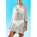 Summer Womens Sexy White Hollow Out Mesh V-Neck Beach Mini Dress Bikini Cover Up