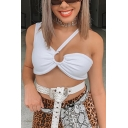 Summer Unique Cool Irregular One Shoulder Cutout Front White Cropped Tank Top