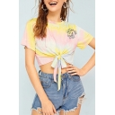 Summer Girls Trendy Tie Dye Round Neck Short Sleeve Knotted Hem Cropped Tee