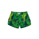 Summer Womens Trendy Green Cactus Printed Drawstring Waist Casual Swimwear Beach Shorts