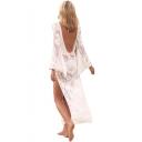 Womens New Stylish Sexy Hollow Lace V-Neck Bell Long Sleeve Split Side White Maxi Beach Bikini Cover Up Dress