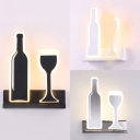 LED Wine Bottle and Glass Wall Lighting Modern Acrylic Wall Sconce in Black/Sliver/White