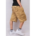Men's Summer Fashion Simple Plain Flap Pocket Side Loose Cotton Cargo Shorts