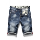 Men's Summer Trendy Basic Washed Stripe Patched Zip-fly Blue Denim Shorts