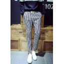 Men's Trendy Stripes Printed Drawstring Waist Black and White Casual Pencil Pants