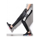 Men's New Fashion Stripe Patched Fake Two Pieces Slim Fit Sports Running Pants
