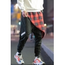 Men's New Stylish Letter Plaid Pattern Fake Two Pieces Drop-Crotch Black Casual Harem Pants
