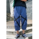 Men's Summer Trendy Cross Tape Patched Drawstring Cuffs Cropped Cargo Pants