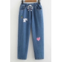 Cute Cartoon Rabbit Heart Embroidery Drawstring Waist Loose Fit Jeans