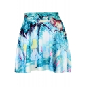 Popular Digital Cat Print Mini Blue Skater Skirt For Girls