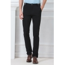 Basic Simple Plain Men's Slim Fitted Straight Business Dress Pants