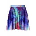 Girls Summer Colorful Galaxy Digital Printed Mini Pleated Skirt
