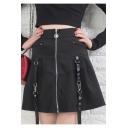 Girls Cool Street Style Zipper-Front Ribbon Embellished Black Mini A-Line Skirt