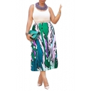 Women's Summer Chic Colorful Stripe Print Maxi Elastic Waist Pleated Skirt