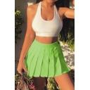 Girls Summer Popular Flourescent Green Zip Side Mini A-Line Pleated Skirt