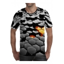 Summer Stylish 3D Printed Black Basic Short Sleeve Fitted Tee